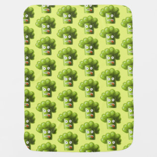 Green Funny Cartoon Broccoli Pattern Receiving Blanket