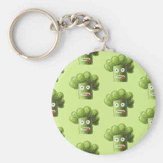 Green Funny Cartoon Broccoli Vegetarian Pattern Basic Round Button Keychain