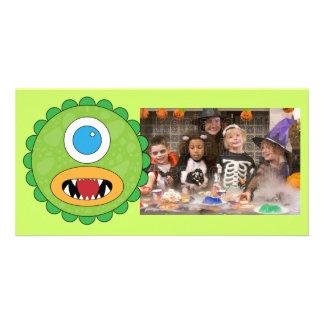 Green funny monster card