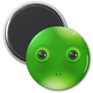 Green funny monster face magnet