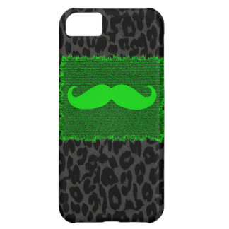 Green Funny Mustache and Leopard Print Case For iPhone 5C
