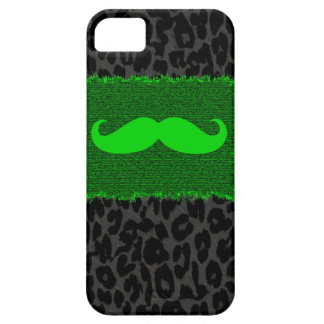 Green Funny Mustache and Leopard Print iPhone SE/5/5s Case