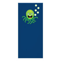 Green funny octopi rack card