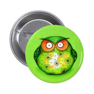 Green Funny Owl Pinback Button
