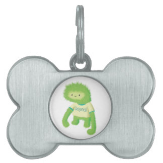 Green Furry Monster Pet Name Tags