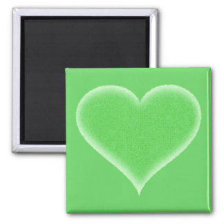 Green Fuzzy Heart Customizable 2 Inch Square Magnet