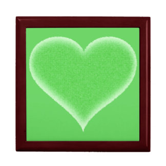 Green Fuzzy Heart Customizable Gift Box