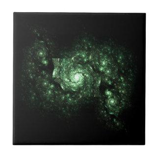 Green Galaxy Fractal Ceramic Tile