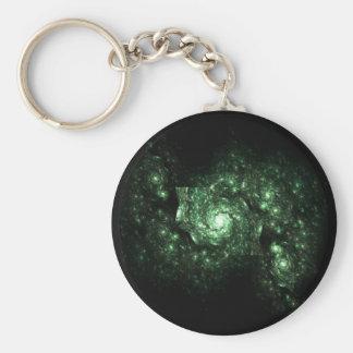 Green Galaxy Fractal Keychain