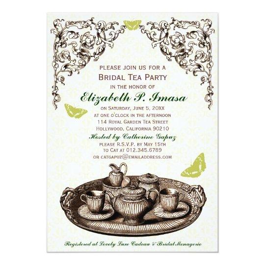 Green Garden Bridal Tea Party Invitations