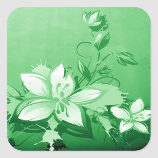 Green Garden Floral Square Sticker