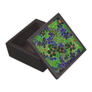 Green garden flower bouquet jewelry box
