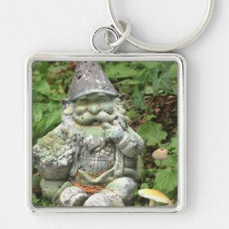 Green Garden Gnome Silver-Colored Square Keychain