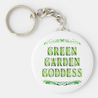 Green Garden Goddess Saying Keychain