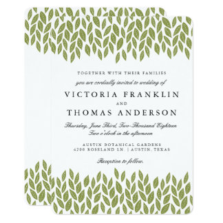 Green Garden Leaves Wedding Invitation