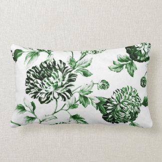 Green Garden Modern Botanical Floral Toile Lumbar Pillow