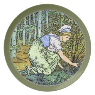 GREEN GARDEN VINTAGE GARDENING GIRL PLATTER MELAMINE PLATE