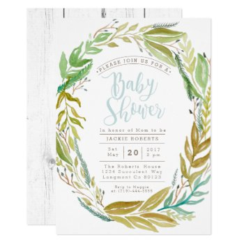 Green Garden | Watercolor Baby Shower Invite by RedefinedDesigns at Zazzle