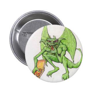 Green Gargoyle Eats Pizza 2 Inch Round Button