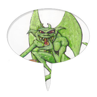 Green Gargoyle Eats Pizza Cake Topper