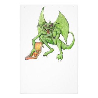 Green Gargoyle Eats Pizza Stationery