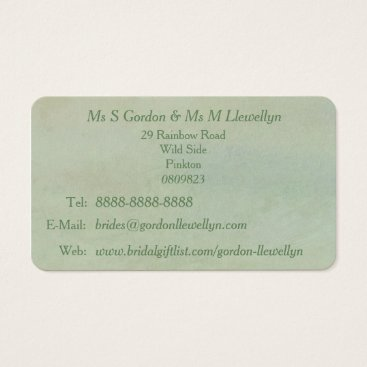 Professional Business Green Gay Wedding Bridal Business Card Mint Rustic