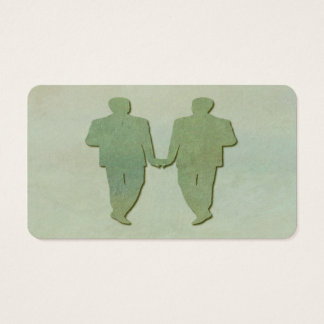 Green Gay Wedding Grooms Business Card Mint Rustic