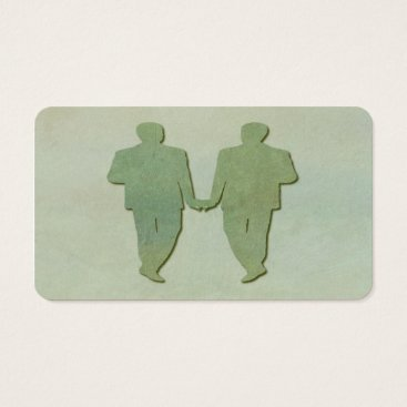 Professional Business Green Gay Wedding Grooms Business Card Mint Rustic