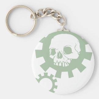 Green Gear Skull Keychain