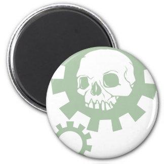 Green Gear Skull Magnet