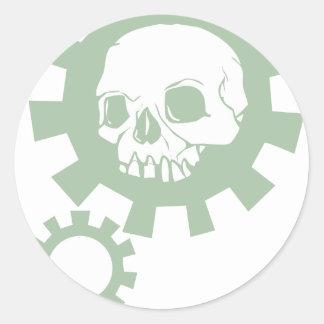 Green Gear Skull Stickers