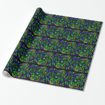 Green Gecko Art Abstract Wrapping Paper