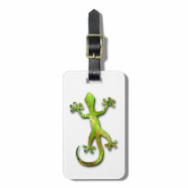 Green Gecko with Gold Pattern Bag Tag