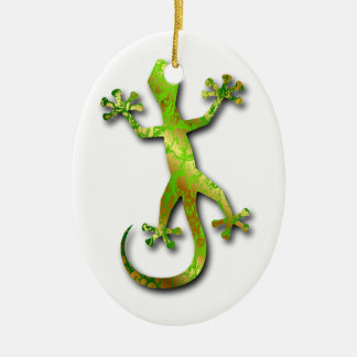 Green Gecko with Gold Pattern Ceramic Ornament