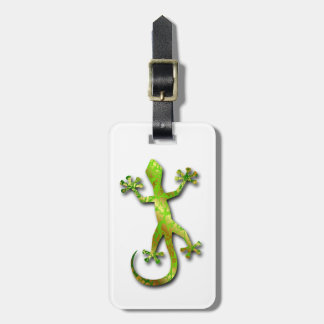 Green Gecko with Gold Pattern Luggage Tags