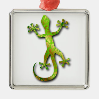 Green Gecko with Gold Pattern Metal Ornament