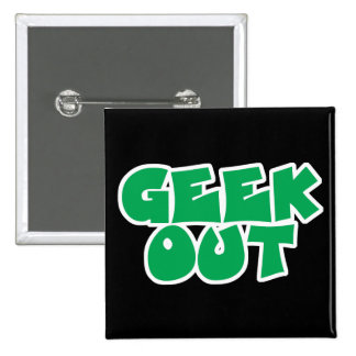Green Geek Out Text Design Pins