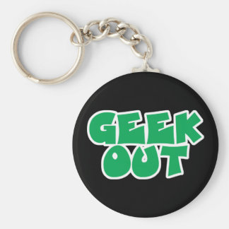 Green Geek Out Text Design Key Chains