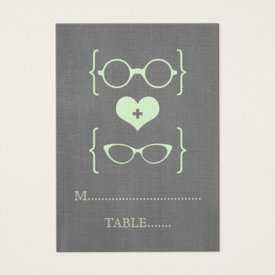 Green Geeky Glasses Chalkboard Place Cards