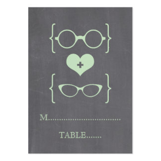 Green Geeky Glasses Chalkboard Place Cards Large Business Cards (Pack Of 100)