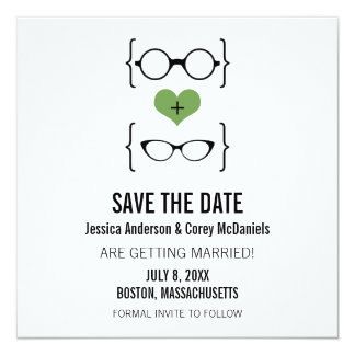 Green Geeky Glasses Save the Date Announcement