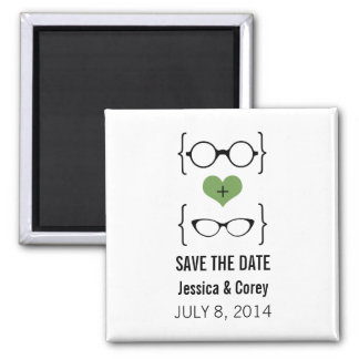 Green Geeky Glasses Save the Date Magnet