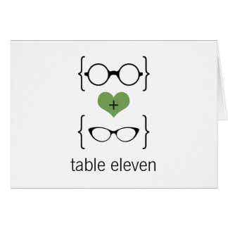 Green Geeky Glasses Table Number Card