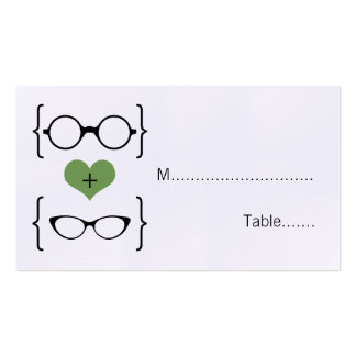 Green Geeky Glasses Wedding Place Cards Double-Sided Standard Business Cards (Pack Of 100)