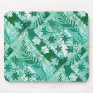 Green gel plate print flowers leaves mouse pad