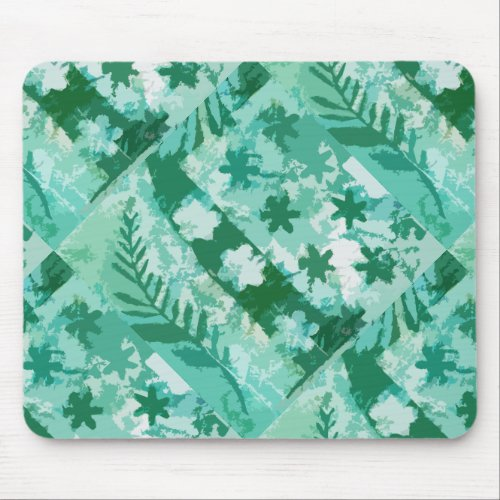 Green gel plate print flowers leaves mouse pad