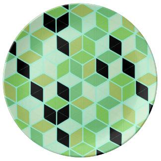 "Green Gemetric 10.75"" Decorative Porcelain Plate"
