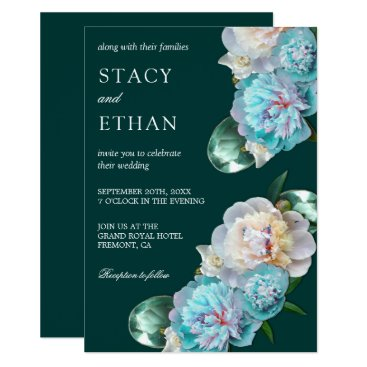 Wedding Themed Green Gems and Turquoise Peonies Floral Wedding Card