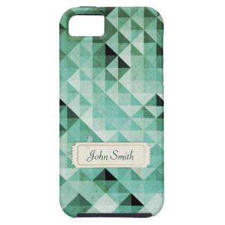 Green Geo Pattern with Custom Name iPhone 5 Case