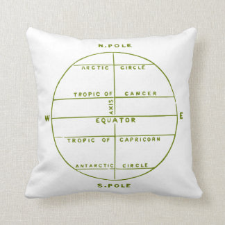 Green Geography Map Throw Pillow